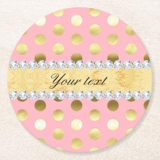 Dessous-de-verre Rond En Papier Diamants roses de pois de feuille d'or