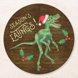 Dessous-de-verre Rond En Papier Dinosaure drôle Eatings de Velociraptor de Noël