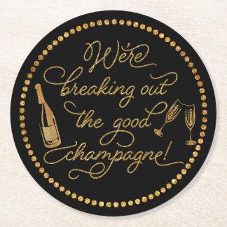 Dessous-de-verre Rond En Papier Éclatement du bon or de Champagne et de la partie