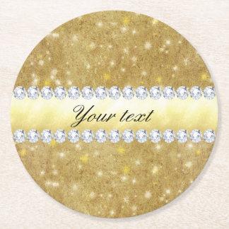 Dessous-de-verre Rond En Papier Étoiles de scintillement et diamants d'or chic
