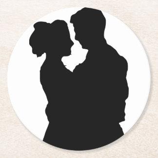 Dessous-de-verre Rond En Papier Faveurs de mariage - silhouette de couples