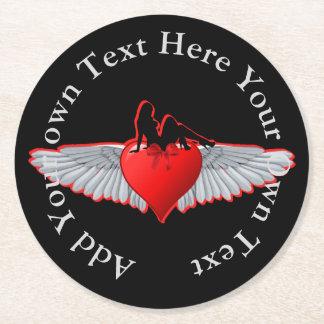 Dessous-de-verre Rond En Papier Fille de pin-up sur le tatouage de coeur et d'aile