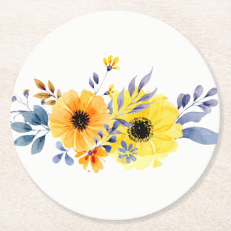 Dessous-de-verre Rond En Papier Fleurs jaunes et bleues florales d'aquarelle -