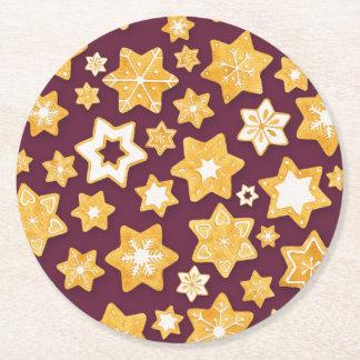 Dessous-de-verre Rond En Papier Guirlande de biscuit de Noël avec l'arrière - plan