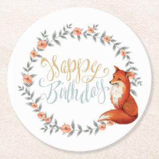 Dessous-de-verre Rond En Papier Guirlande de Fox d'anniversaire