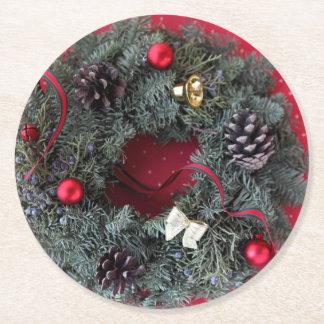 Dessous-de-verre Rond En Papier Guirlande de Noël sur le pois