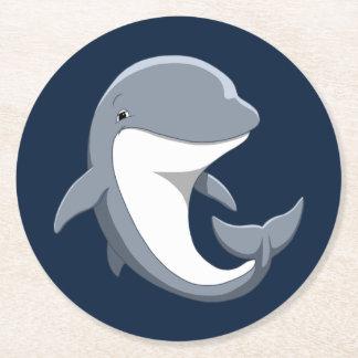 Dessous-de-verre Rond En Papier J'aime le Bottlenose mignon de dauphins