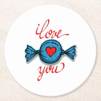 Dessous-de-verre Rond En Papier Je t'aime (rouge écrit)