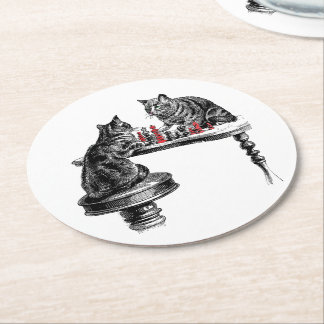 Dessous-de-verre Rond En Papier Jeux de société deux chats jouant le rouge de