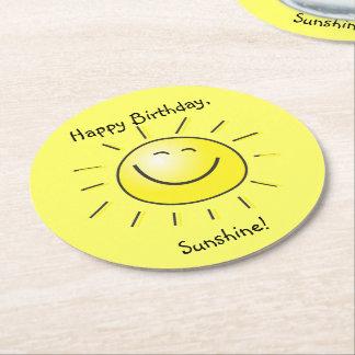 Dessous-de-verre Rond En Papier Joyeux anniversaire, soleil !