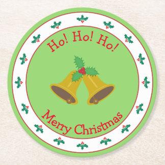 Dessous-de-verre Rond En Papier Joyeux Noël avec Bells et houx