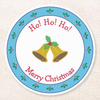 Dessous-de-verre Rond En Papier Joyeux Noël Bells et houx