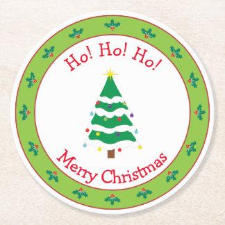 Dessous-de-verre Rond En Papier Joyeux Noël et arbre de Noël