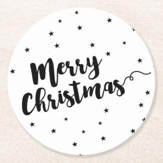 Dessous-de-verre Rond En Papier Joyeux Noël - typographie et étoiles de manuscrit