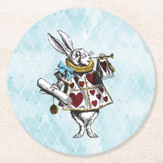Dessous-de-verre Rond En Papier Lapin vintage de blanc du pays des merveilles