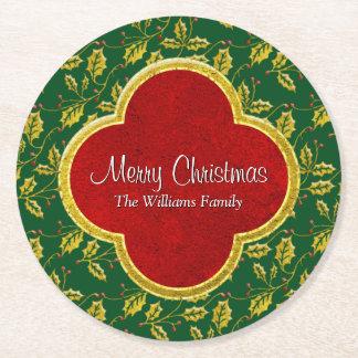Dessous-de-verre Rond En Papier Le houx classique de Noël personnalisent