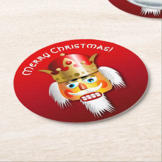 Dessous-de-verre Rond En Papier Le Roi customisé Cartoon de casse-noix de Noël