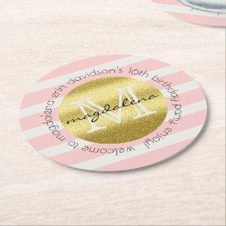 Dessous-de-verre Rond En Papier Le scintillement à la mode d'or de monogramme
