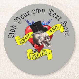 Dessous-de-verre Rond En Papier Le tatouage gothique toilette le crâne et le coeur