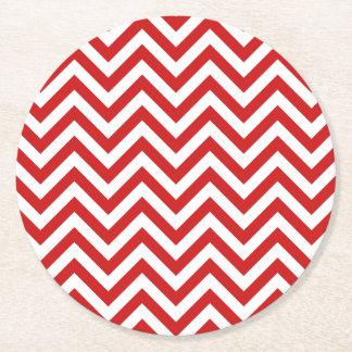 Dessous-de-verre Rond En Papier Le zigzag rouge et blanc barre le motif de Chevron