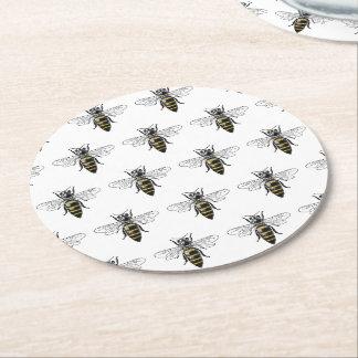Dessous-de-verre Rond En Papier Manteau de l'abeille #2 des bras vintage