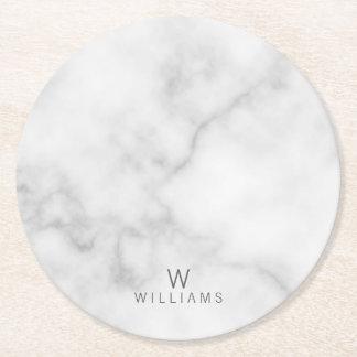 Dessous-de-verre Rond En Papier Marbre blanc avec le monogramme et le nom