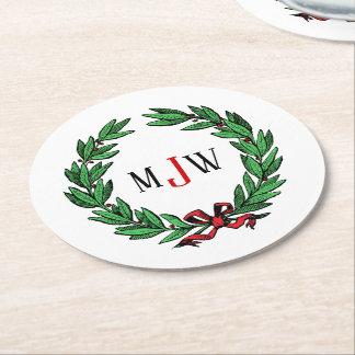 Dessous-de-verre Rond En Papier Monogramme de fête de guirlande de houx de Noël de