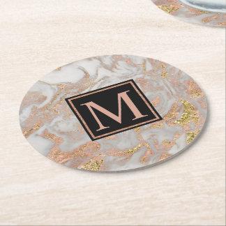 Dessous-de-verre Rond En Papier Monogramme rose de remous de marbre d'or de Faux