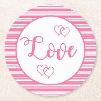 Dessous-de-verre Rond En Papier Noce rose et blanche de coeurs d'amour de rayures