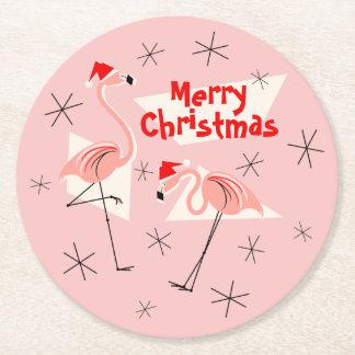 Dessous-de-verre Rond En Papier Noël rose de Santa de flamant Joyeux rond