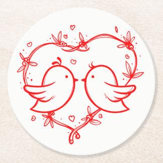 Dessous-de-verre Rond En Papier Perruches et noce rouges et blanches de coeurs