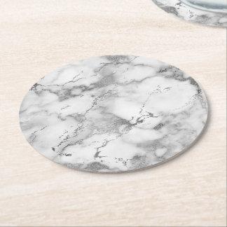 Dessous-de-verre Rond En Papier pierre de marbre gris-clair