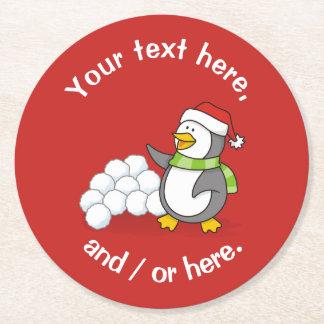 Dessous-de-verre Rond En Papier Pingouin de Noël avec l'ondulation de boules de