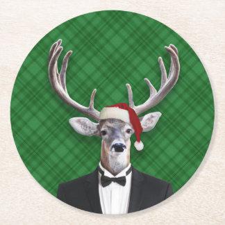 Dessous-de-verre Rond En Papier Plaid drôle de vert de cerfs communs de Noël de