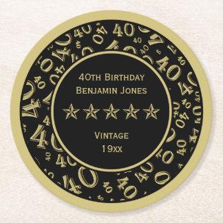Dessous-de-verre Rond En Papier quarantième Or de fête d'anniversaire/motif rond