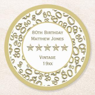 Dessous-de-verre Rond En Papier quatre-vingtième Motif rond blanc de /Gold de fête