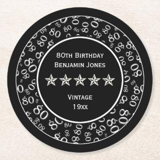 Dessous-de-verre Rond En Papier quatre-vingtième Motif rond de fête d'anniversaire