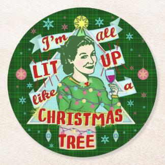 Dessous-de-verre Rond En Papier Rétro Lit potable de femme d'humour de Noël drôle
