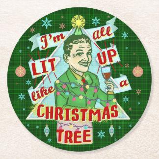Dessous-de-verre Rond En Papier Rétro Lit potable d'homme d'humour de Noël drôle