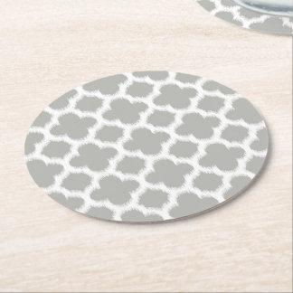 Dessous-de-verre Rond En Papier Rétro motif beige d'Ikat Quatrefoil de blanc gris