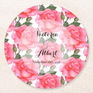 Dessous-de-verre Rond En Papier Roses faits sur commande de rose d'aquarelle