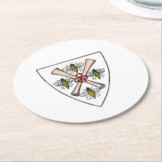 Dessous-de-verre Rond En Papier Rouleaux héraldiques d'abeilles du cru 4 sur le