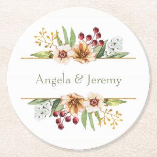 Dessous-de-verre Rond En Papier Sauge de mariage d'aquarelle de fleur sauvage