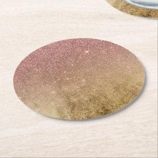 Dessous-de-verre Rond En Papier Scintillement d'or de rose de rose et maille de