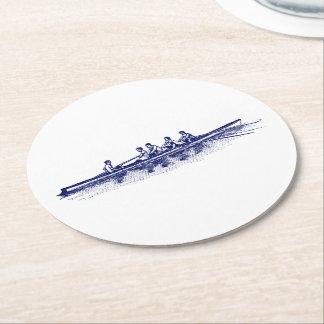 Dessous-de-verre Rond En Papier Sports aquatiques bleus d'équipe d'équipage de