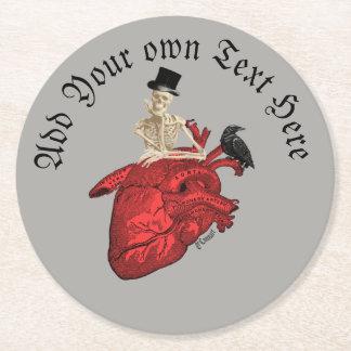 Dessous-de-verre Rond En Papier Squelette et coeur gothiques de marié