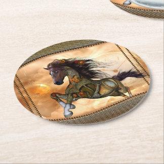 Dessous-de-verre Rond En Papier Steampunk, cheval impressionnant de steampunk