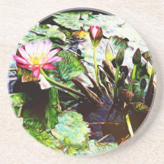 Dessous de verre ronds Romance roses de grès