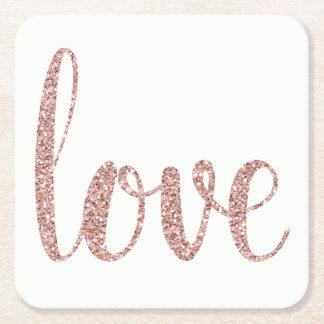 Dessous de verre roses d'amour de scintillement dessous-de-verre carré en papier