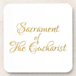 Dessous-de-verre Sacrement du regard 3D d'or d'eucharistie